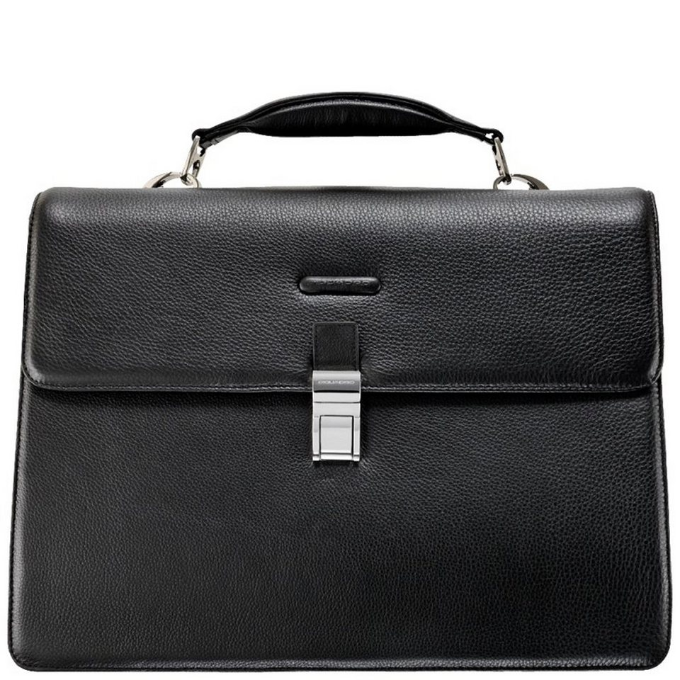 Piquadro Modus Aktentasche Leder 42 cm Laptopfach in schwarz