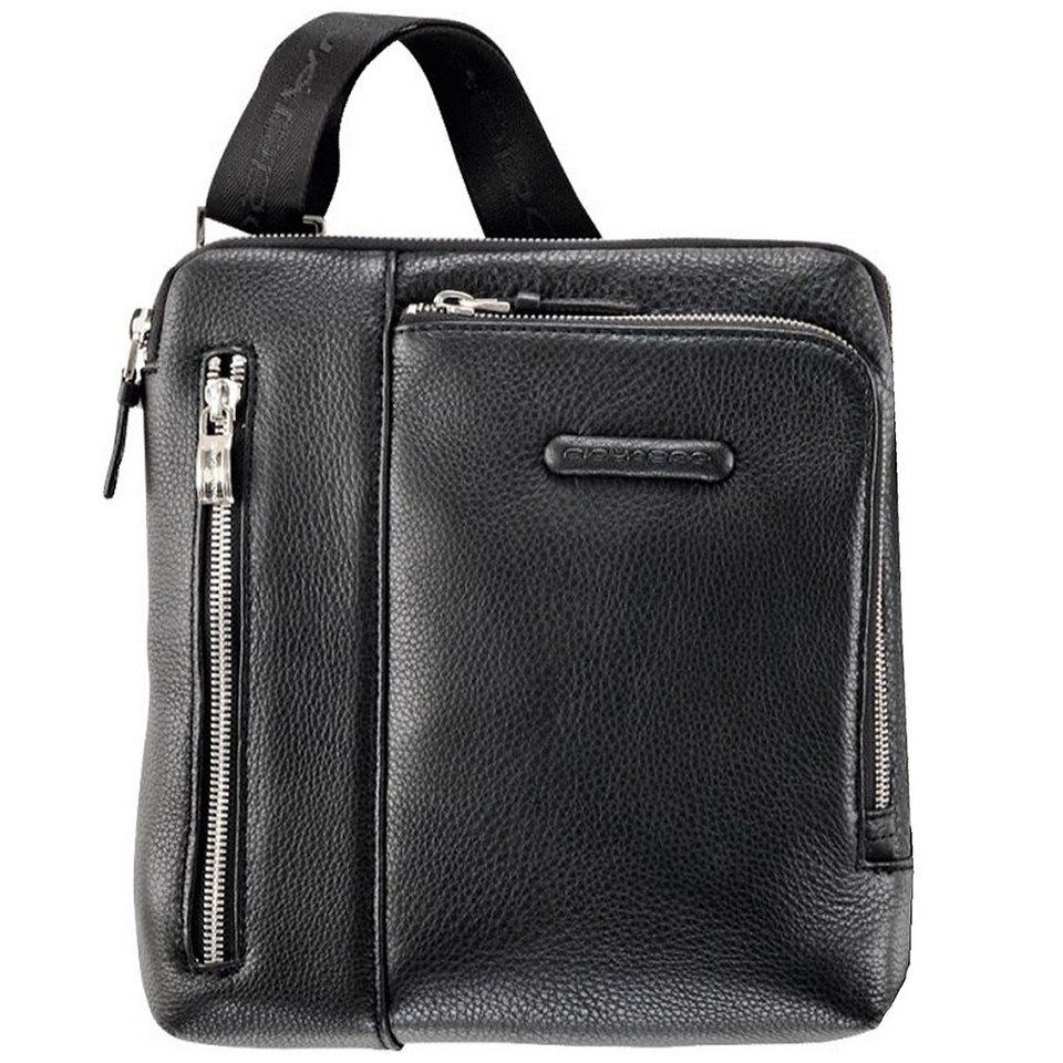 Piquadro Modus Umhängetasche Leder 21 cm in schwarz