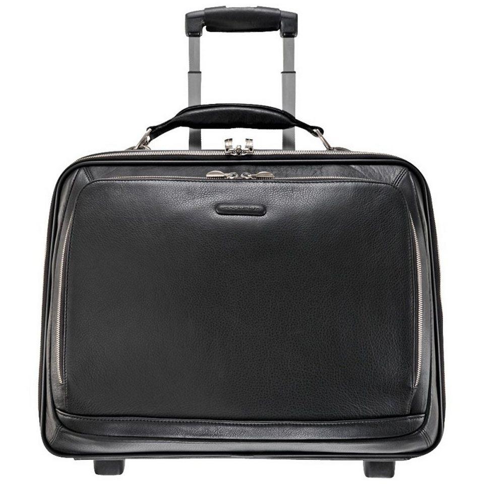 Piquadro Modus 2-Rollen Business Trolley Leder 46 cm Laptopfach in schwarz