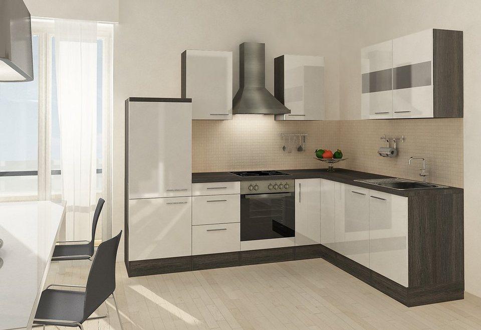 Winkel-Küchenzeile mit E-Geräte »Mia«, 260 x 200 cm, Set 2 in eichefarben grau/weiß