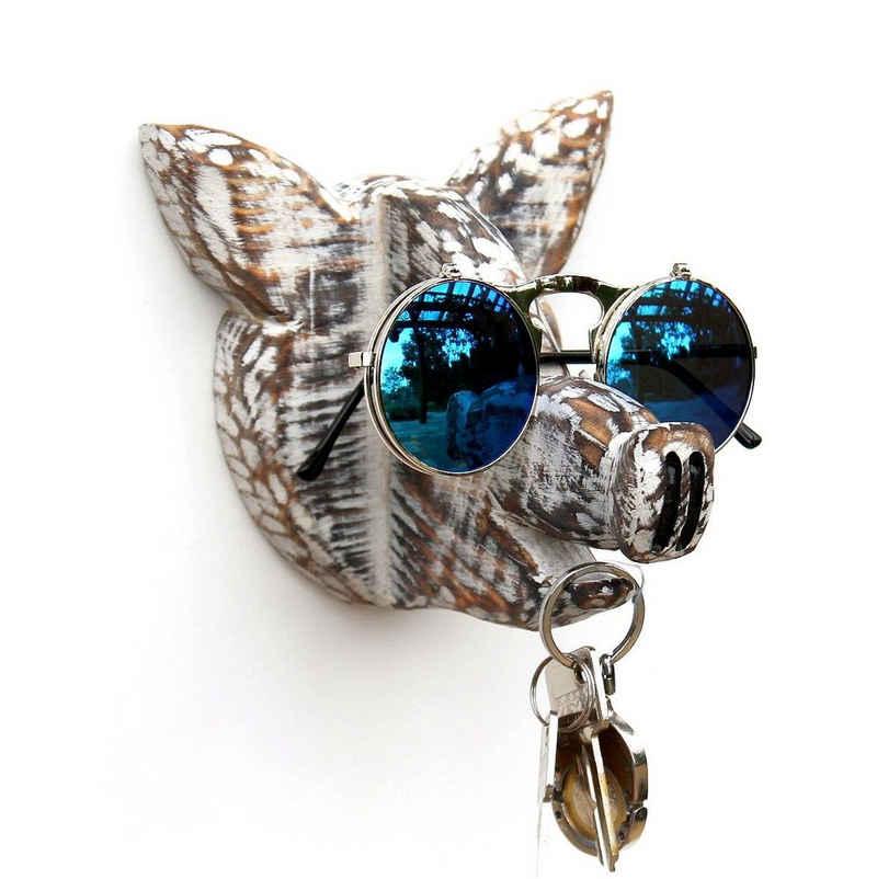 DanDiBo Schlüsselleiste »Brillenhalter Wand Brillenständer 93913 Schlüsselhalter Schwein handgemacht Kleiderhaken Holz«