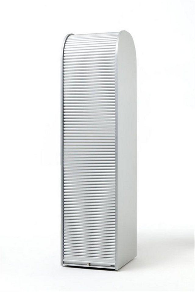 MS-Schuon Rolladenschrank Hochschrank mit 4 Fachböden, abschließbar »KLENK COLLECTION« in silber  /  silber