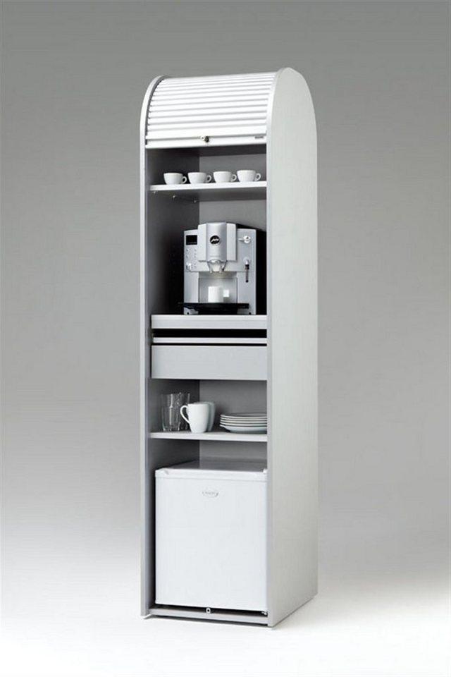 MS-Schuon Rolladenschrank Kaffeeschrank optional mit Kühlschrank »KLENK COLLECTION« in silber / weiss