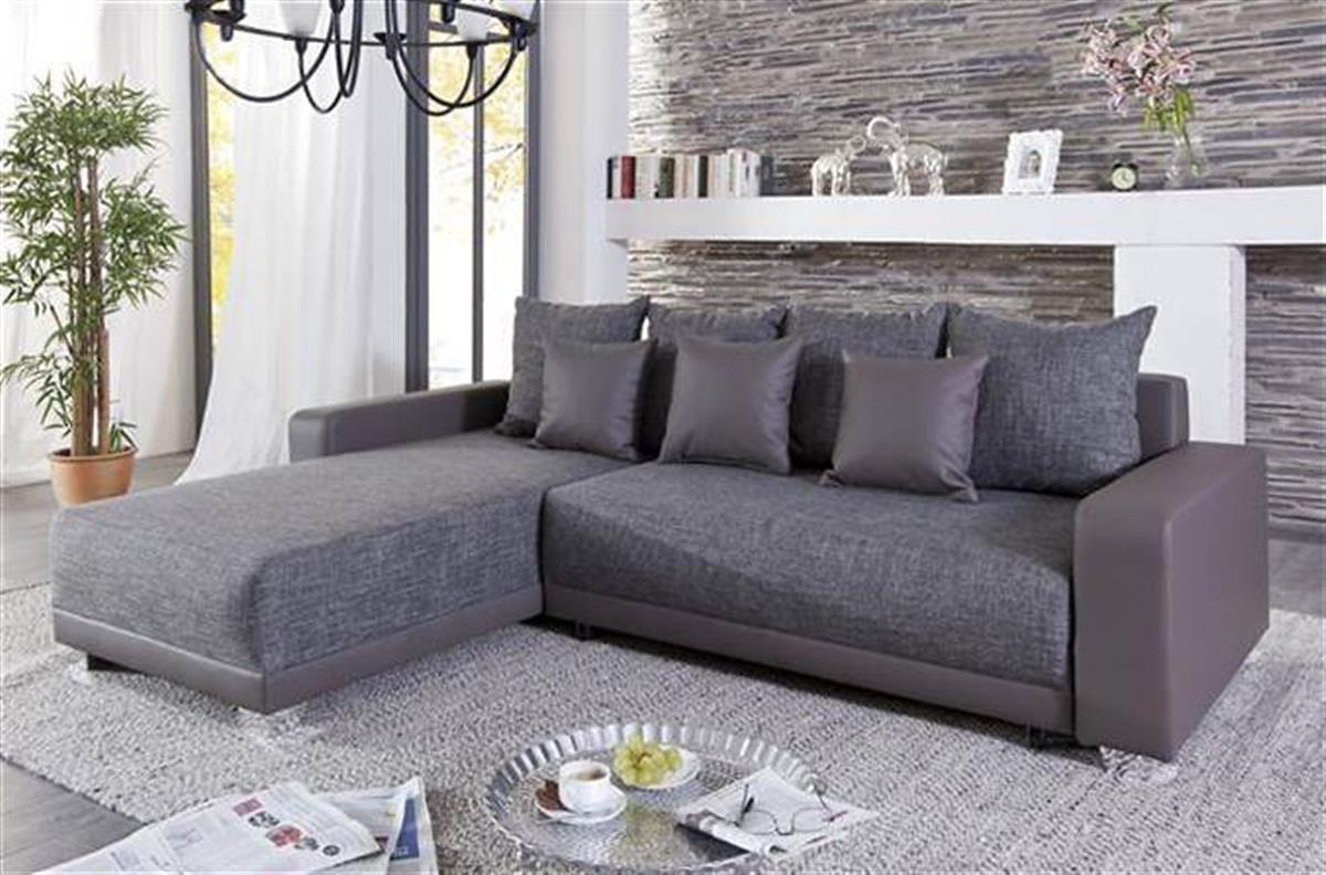 Kasper-Wohndesign Ecksofa mit Bettfunktion beidseitig Kunstleder Stoff braun »MOLLI«