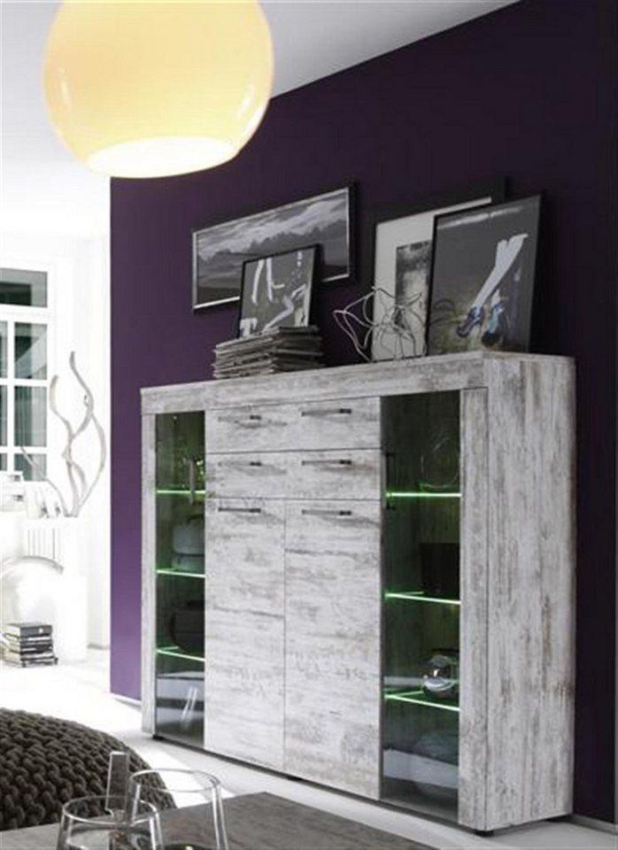 Kasper-Wohndesign Highboard inkl. Beleuchtung Pinie weiss »KANADA« in antik weiss