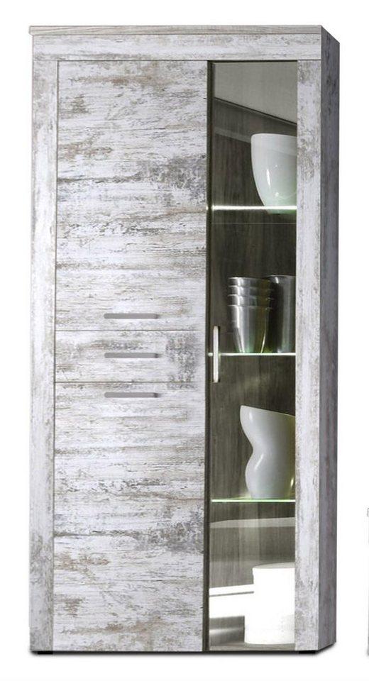 kasper wohndesign vitrine inkl beleuchtung pinie weiss kanada online kaufen otto. Black Bedroom Furniture Sets. Home Design Ideas