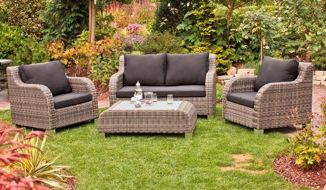 Lounge-Gruppe BRIGHTON Alu/Kunststoffgeflecht halbrund dunkelgrau Garden Pleasure