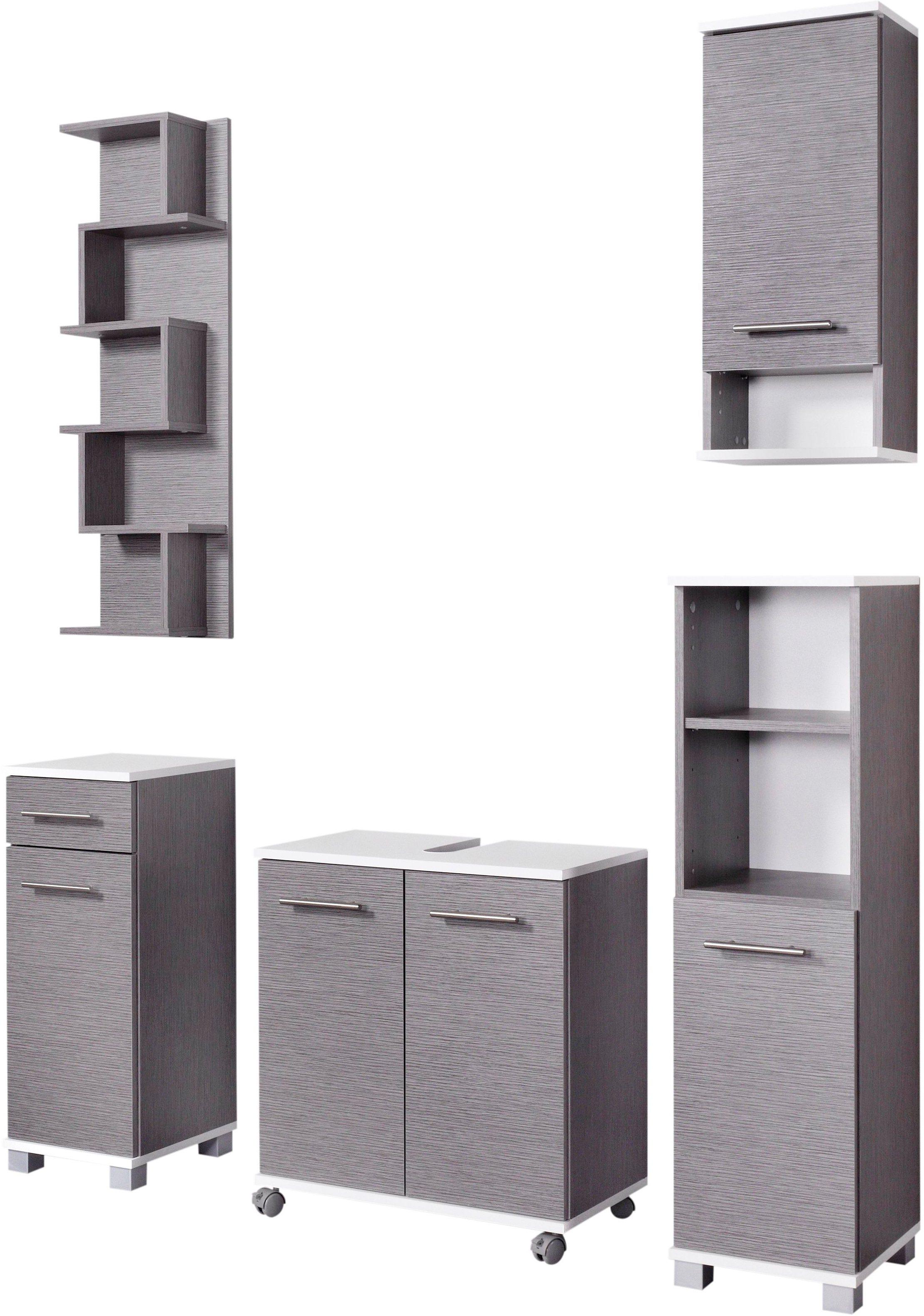 Badmöbel-Set »Rhodos«, Schildmeyer (5-tlg.), mit Metallgriffen | Bad > Badmöbel > Badmöbel-Sets | Weiß - Glanz | Melamin | Schildmeyer