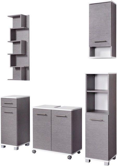 Badezimmer Sets - Schildmeyer Badmöbel Set »Rhodos«, (Set, 5 tlg), mit Metallgriffen, verstellbare Einlegeböden, z.T. wechselbare Türanschläge  - Onlineshop OTTO