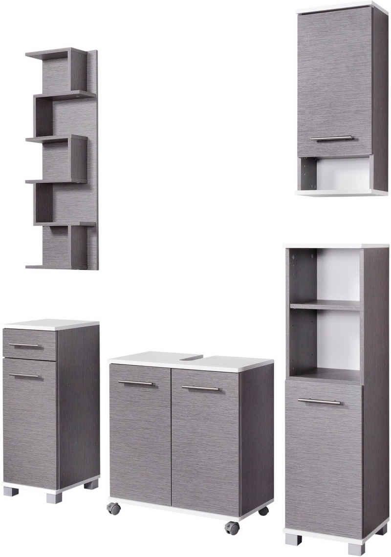 Schildmeyer Badmöbel-Set »Rhodos«, (Set, 5-St), mit Metallgriffen, verstellbare Einlegeböden, z.T. wechselbare Türanschläge