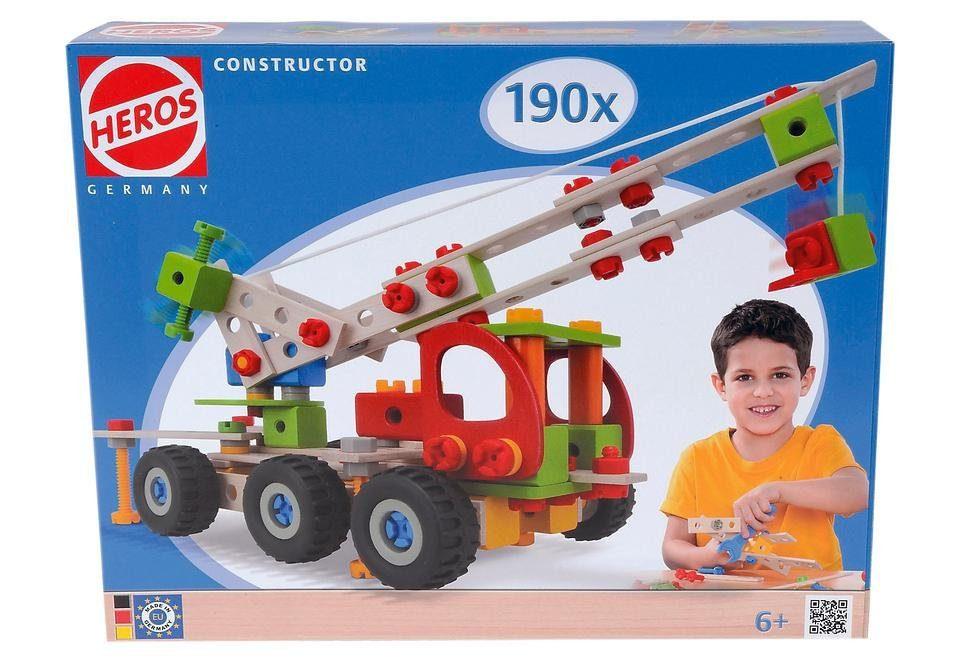 Heros Bauset aus Holz, 190-tlg. »Constructor Kranwagen«