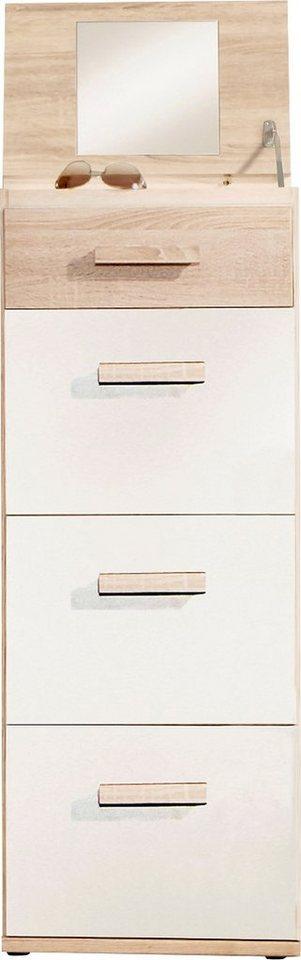 Wimex Hochkommde mit Spiegel in struktureichefarben hell/lavagrau