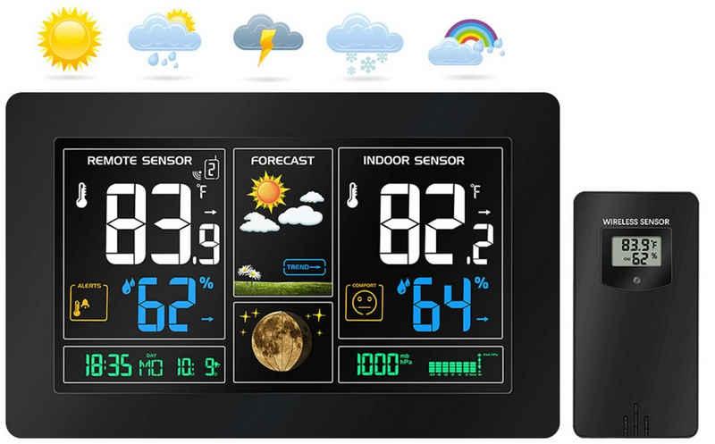 echos »Eco-450« Funkwetterstation (mit Funk-Außensensor, Wettervorhersage mit Kalender, Mondphasenanzeige, Farbdisplay mit Dimmfunktion, Alarmfunktion, Funk-Außensensor mit LCD-Display)