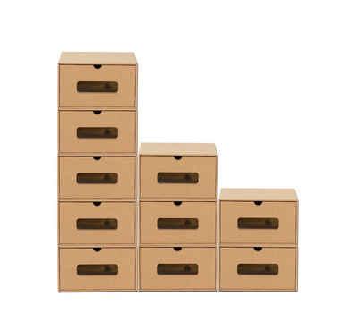 BigDean Schuhbox »10er Boxen−Set mit Sichtfenster & Schublade − Pappkarton aus Kraftpapier − Schuhkisten Spielzeug−Box Aufbewahrung« (10 Stück)