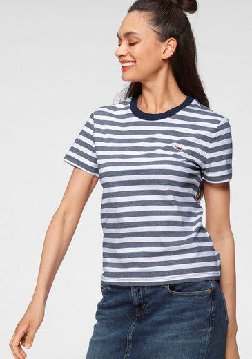 Tommy Jeans Rundhalsshirt »TJW TOMMY CLASSICS STRIPE TEE« mit unifarbenem Rundhalsbündchen