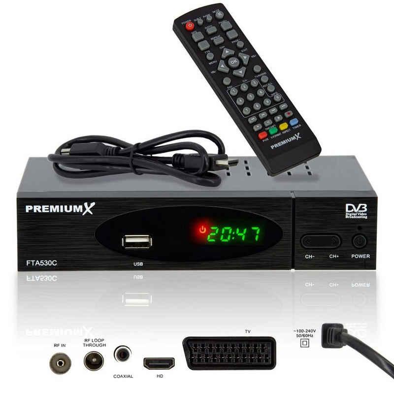 PremiumX »FTA 530C FullHD Digitaler DVB-C TV Kabel Receiver Auto Installation USB Mediaplayer SCART HDMI WLAN optional, Kabelfernsehen für jeden Kabel-Anbieter geeignet« Kabel-Receiver