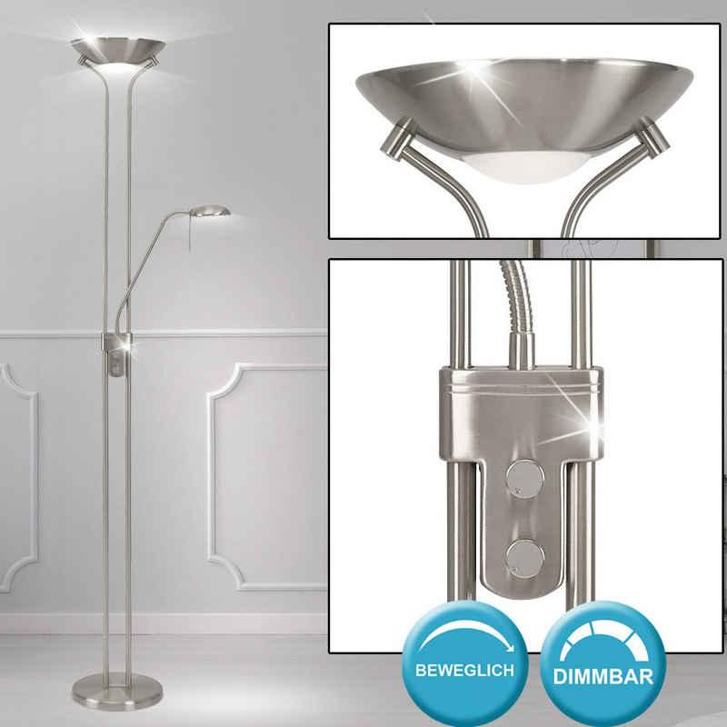 etc-shop LED Deckenfluter, Decken Fluter Dreh Dimmer Steh Lampe Wohn Schlaf Zimmer Beleuchtung Lese Lampe flexibel
