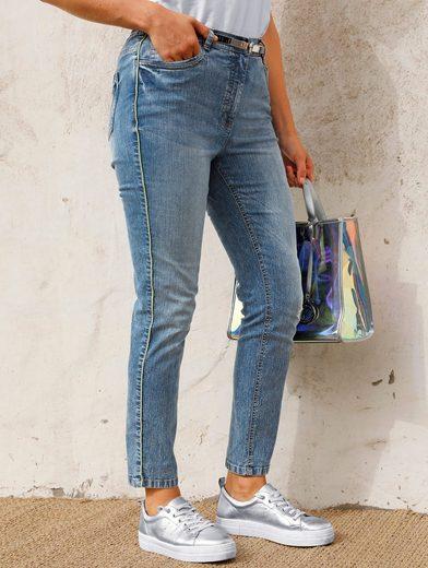 MIAMODA 7/8-Jeans mit neonfarbener Paspel