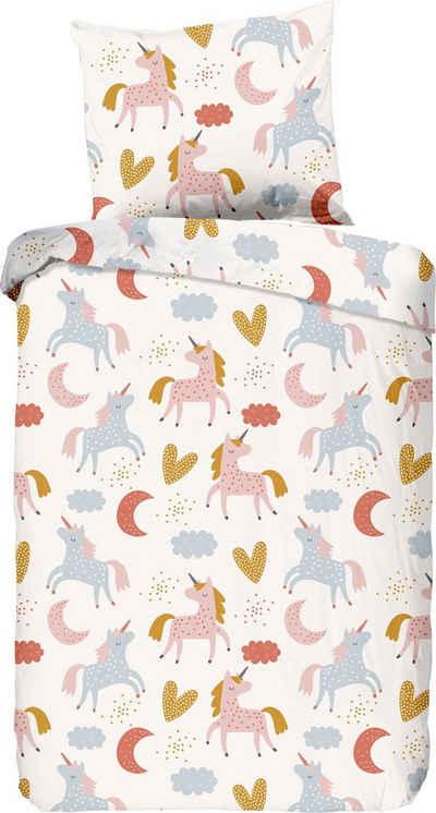 Babybettwäsche »Unilove«, good morning, bedruckt mit Einhörnern