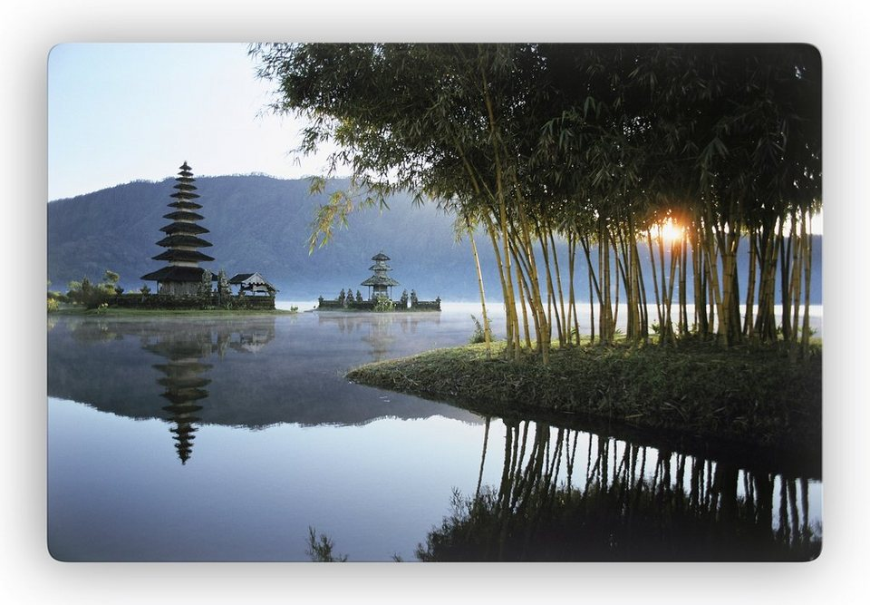 Glasbild, Home affaire, »Japanischer Tempel«, 60/40 cm in grau