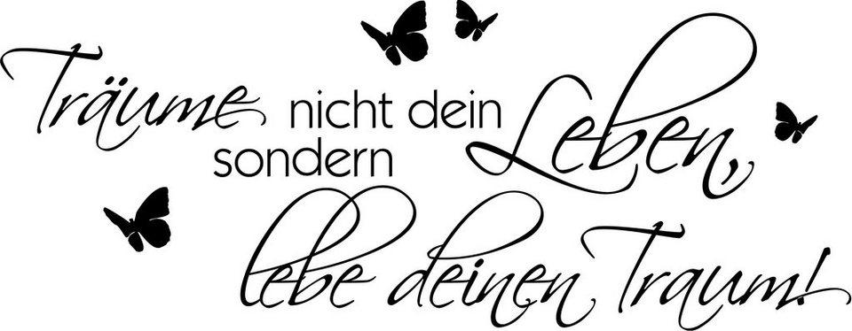 Wandspruch, Home affaire, »Träume nicht Dein Leben….« in schwarz