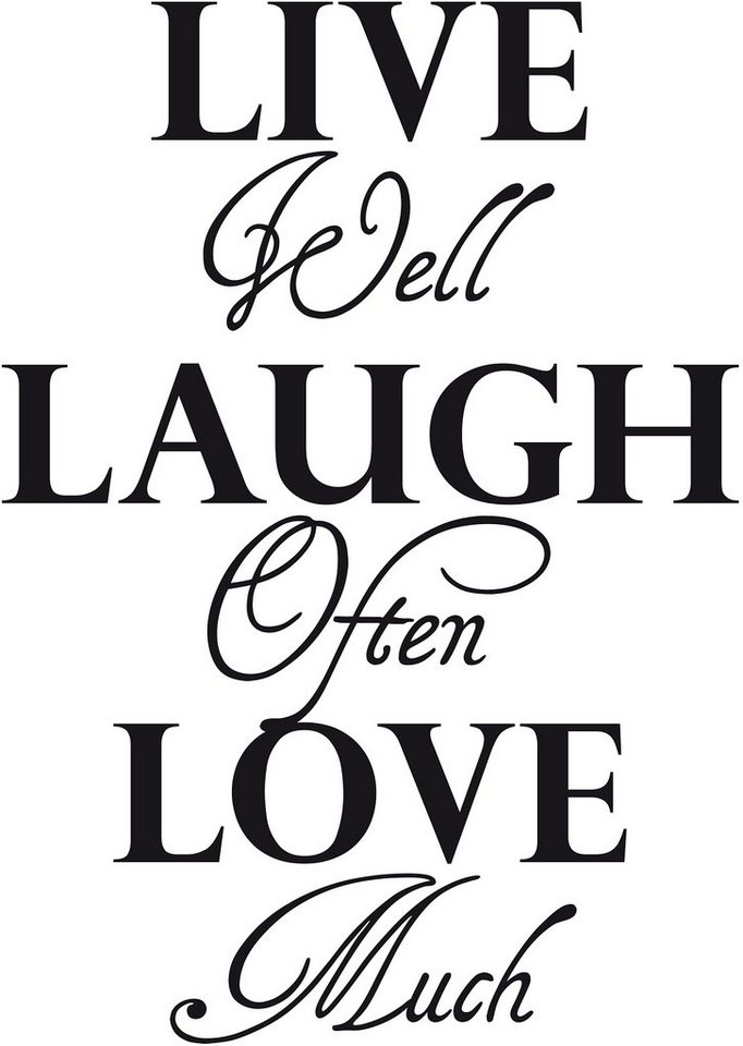 Wandspruch, Home affaire, »Live well laugh often….« in schwarz