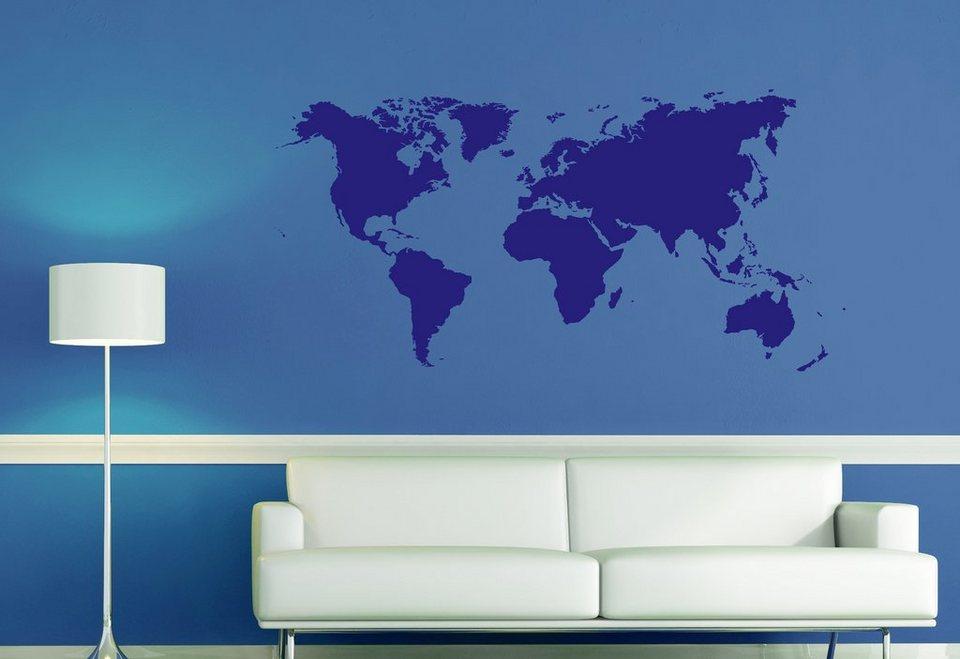 Wandsticker mit Weltkartenmotiv in blau