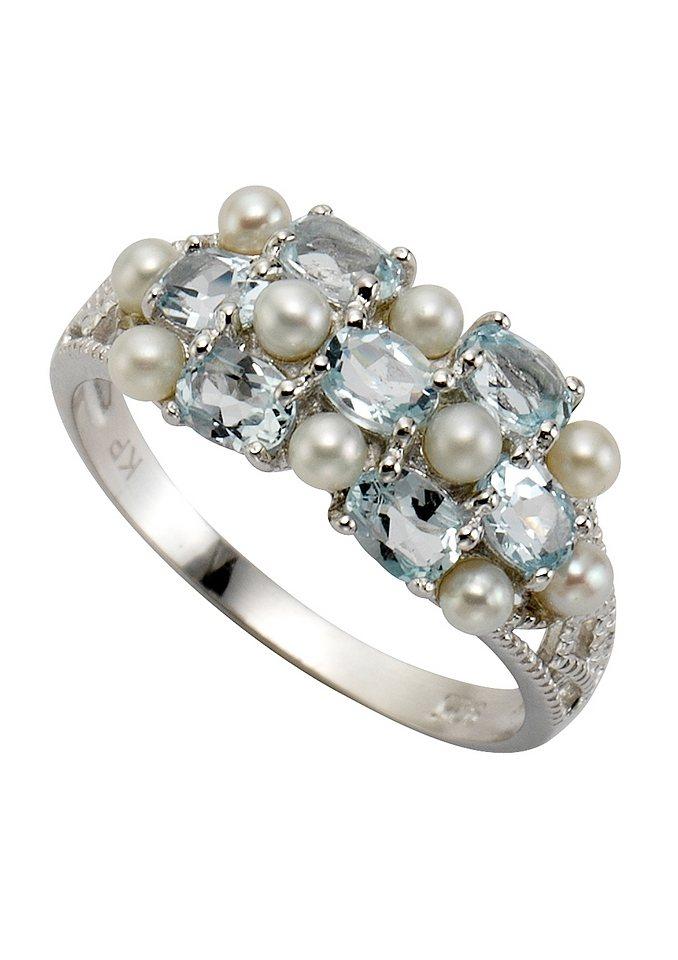 "firetti Ring ""Perle"" mit Topasen in blau"