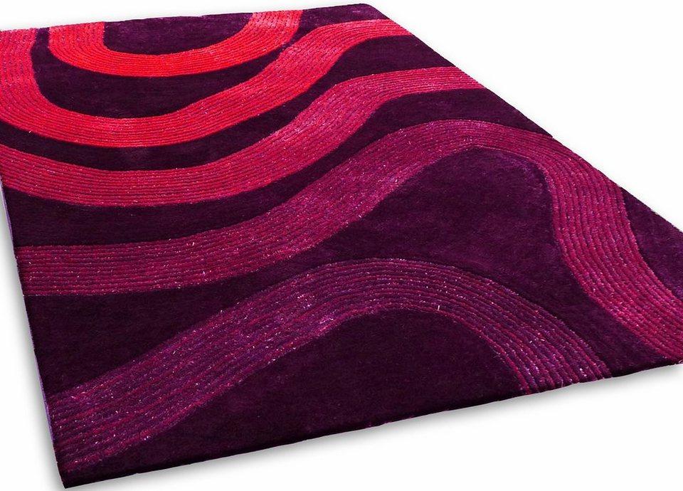 Teppich, Kinzler, »Outback«, handgearbeitet in violett/pink