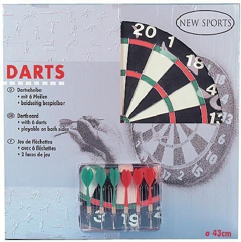 New Sports Dart-Board mit Pfeilen, 43 cm Ø in schwarz