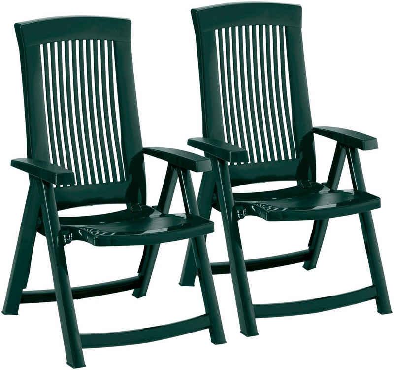 Best Gartenstuhl »Kansas« (Set, 2 Stück), 2er Set, Kunststoff, verstellbar, grün