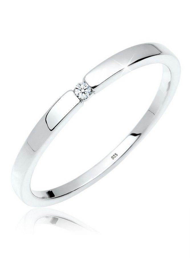 Diamore Ring »Klassischer Verlobungsring Diamant 0.02 ct. Silber« in Weiß