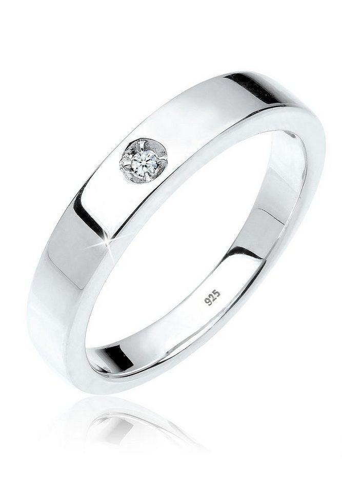 DIAMORE Ring »Solitär Bandring Diamant 0.02 ct. 925 Silber« in Weiß