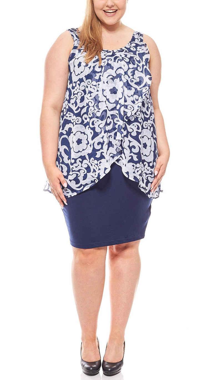 Zhenzi Jerseykleid »ZHENZI Sommerliches Jerseykleid Knielang Layer-Look Sommerkleid Große Größen Blau«