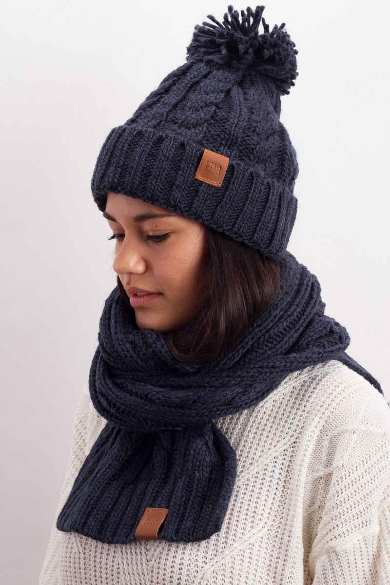 Manufaktur13 Mütze & Schal »Knit Winter Set - Schal& Mütze, 2-teiliges Kombiset aus Strickschal«