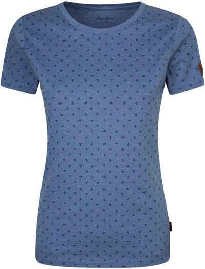 Pepe Jeans Print-Shirt »NEW VIRGINIA« mit floralem allover Print und kleinem Marken-Logo-Symbolen in klassischer Basic Passform