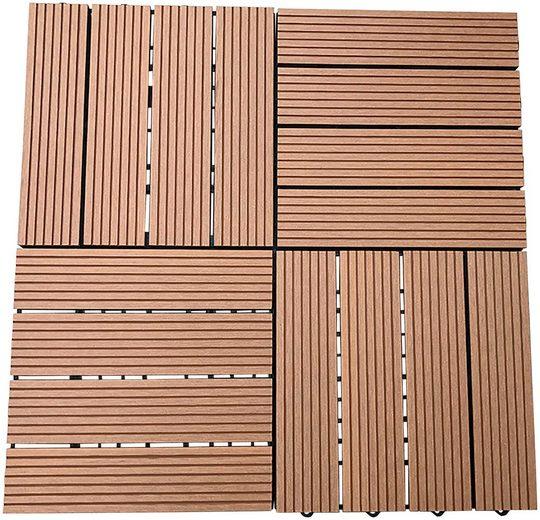 HOME DELUXE Terrassenplatten, 30x30 cm, 33-St., rutschhemmend, für 3 m² Fläche, teak