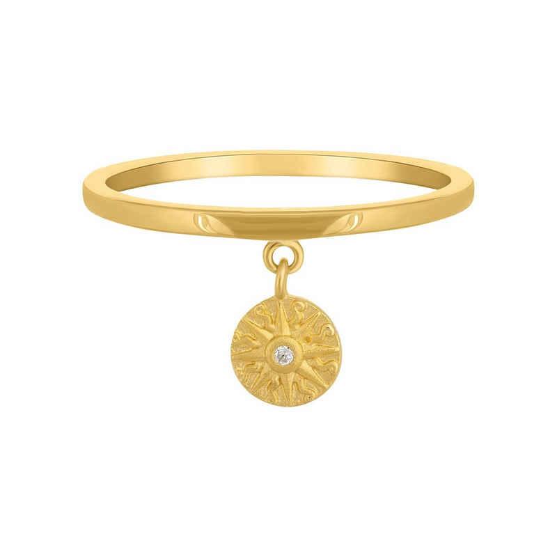 CAÏ Silberring »925 Silber Anhänger Münze vergoldet Sonne Zirkonia«, Silberring poliert, Münze mattiert