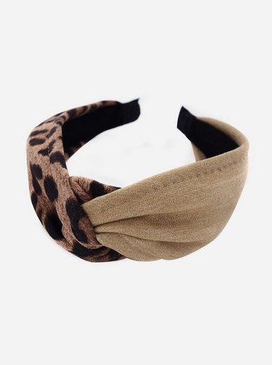 axy Haarreif »Breiter Haarreif mit Leoparden Muster und Jeans Stoff«, Klassik-Look Damen Haareifen Haarband