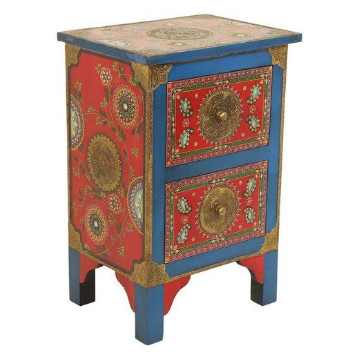 Casa Moro Nachtkommode »Orientalische handbemalte Kommode Shiva 40x30x60 (B/T/H), RK45-40« (1 St), Handmade