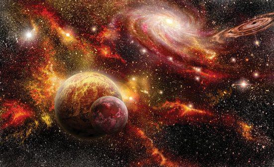 CONSALNET Fototapete »Bunter Weltall«, Vlies, in verschiedenen Größen