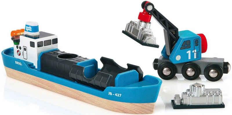 BRIO® Spielzeugeisenbahn-Erweiterung »BRIO® WORLD Containerschiff mit Kranwagen«, FSC®-Holz aus gewissenhaft bewirtschafteten Wäldern
