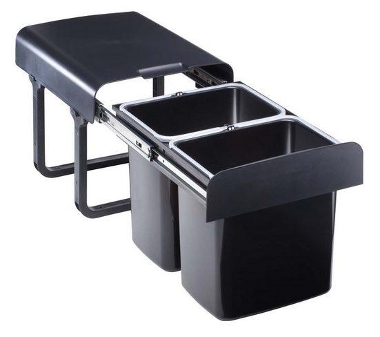 EKOTECH Einbaumülleimer »Abfallsammler schwarz 2x 16 Einbau EKKO.20 Mülleimer 2er Küchen Mülltrennung«, ausziehbar montiert ab 40cm Schrankbreite