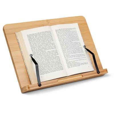 Navaris Buchstütze, Buchständer iPad Ständer aus Bambus - 33x24cm Buchhalter aus Holz - Stand Halter für Buch Kochbuch - für Küche Schreibtisch