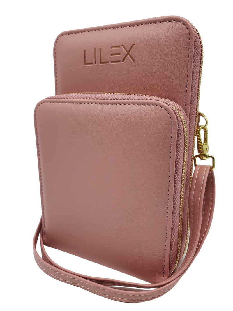 Lilex Umhängetasche »Mini Tasche zum Umhängen aus Leder, große Brieftasche, Geldbörse mit Kartenfächern, verstellbaren Schulterriemen, auch für Impfpässe und Schutzmasken«, enthält abnehmbaren Schultergurt