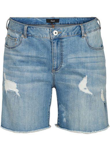 Zizzi Jeansshorts Große Größen Damen Slim Fit Denim Shorts mit Schlitzen