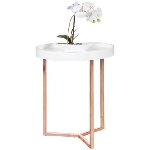 FINEBUY Tabletttisch »SuVa10594_1«, Design Beistelltisch GIVE mit Tablett abnehmbar 40 cm Rund Kupfer Couchtisch Holz Wohnzimmertisch als Tabletttisch Modern