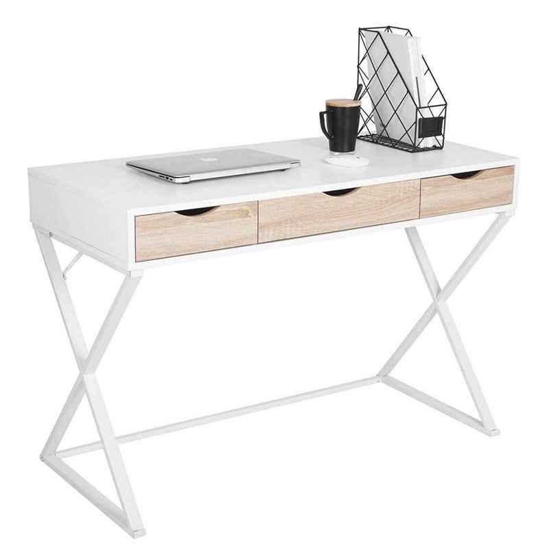 Woltu Schreibtisch »TS40ws«, Computertisch Bürotisch Arbeitstisch PC Laptop Tisch, in Melamin, mit 3 Schubladen, Gestell aus Stahl, 110x50x75cm(BxTxH), Holz, Weiß