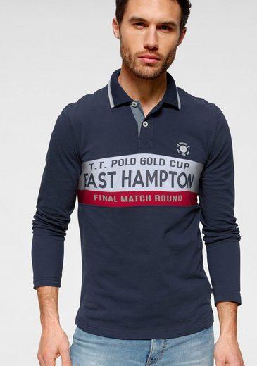 TOM TAILOR Polo Team Langarm-Poloshirt mit Logoprint