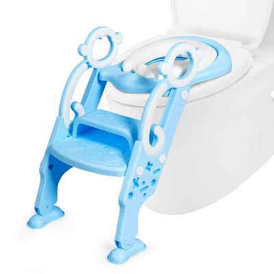 COSTWAY Baby-Toilettensitz Kinder-Toilettensitz, höhenverstellbar, faltbar, mit Leiter & Griffe